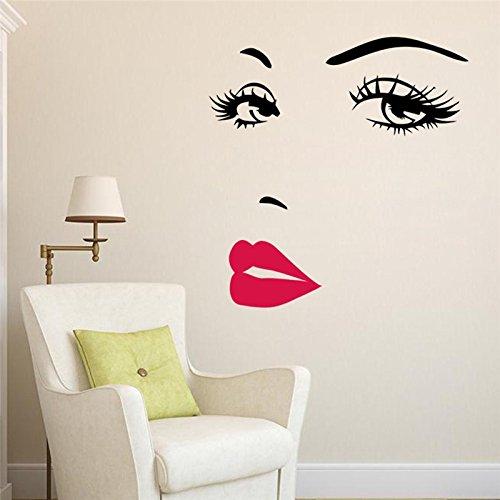enheit Audrey Hepburn Augen Rote Lippen Abnehmbares Zimmer Dekor Wand Aufkleber ()