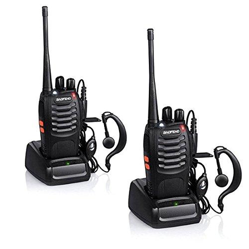 Sunreal Baofeng BF-888s Walkie Talkie 400-470MHz Radio Portable 16 Kanäle Sprechfunkgerät Two-Way Radio Handfunkgerät Wiederaufladbar Profi Taschenlampe (1 Paare) -