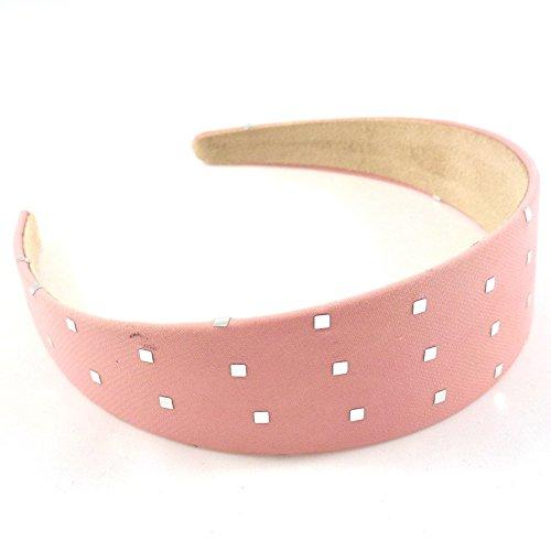 rougecaramel - Accessoires cheveux - Serre tête/headband large uni avec motif carré argenté - rose