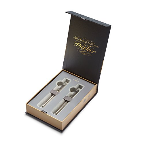 PARKER Jotter British Collection Set Confezione Regalo con Penna Stilografica e Penna a Sfera, Acciaio Inox con Finiture Cromate (1978324)
