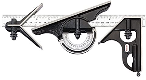 Starrett C434ME-300 Forged, Hardened Square, Centre And Reversible Protractor Heads With Blade Combination Set, Smooth Black Finish, 300 mm Size