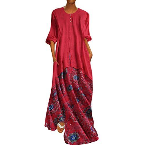 Damen Vintage Leinen Kleider Mode Sommer Langes Kleid Freizeit Kleid Blume Gedruckt Patchwork GefäLschte Zweiteilige BeiläUfige Oansatz Kaftan Kleid Luftiges Kleid Florydays Kleider Z-Rot1 2XL Print-mini-kleid Top