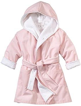 wellyou Baby-Kinder-Bademantel, rosa-weiss Vichy-Karo, für Mädchen, 100% Baumwolle