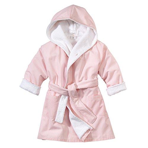 wellyou, Baby-Kinder-Bademantel, rosa-weiss Vichy-Karo, für Mädchen, 100% Baumwolle, Größe 74-98 (Und Frottee-bademantel Groß Hoch)