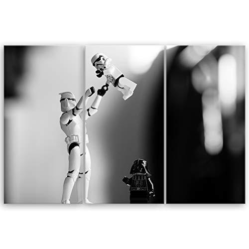 ge Bildet® hochwertiges Leinwandbild XXL - Stormtrooper III Trouble - 120 x 80 cm mehrteilig (3 teilig)
