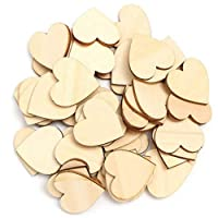 50 Pcs Wooden Love Heart Shape DIY Hanging Heart Plain Decoration Crafts qingsb