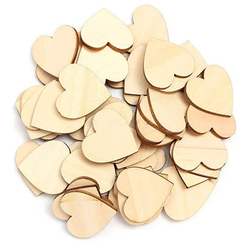 50 Pcs Wooden Love Heart Shape DIY Hanging Heart Plain Decoration Crafts - 3cm/1.18 Inch qingsb