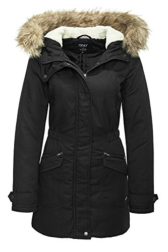 Only Damen Winterjacke Parka Kurzmantel (XS, Black)