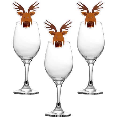 (Hicarer 30 Stücke Weihnachten Weinglas Dekorationen Cup Karten Tischdekoration für Party Lieferungen (Elk))