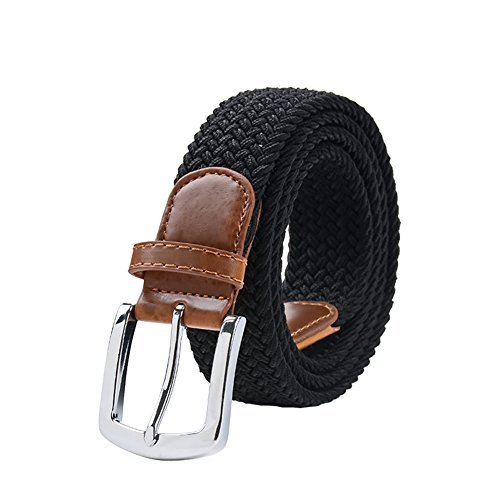 Maikun Braided Elastic Stretch Woven Belt with Leather Tip Nickle Pin 45in Buckle Black