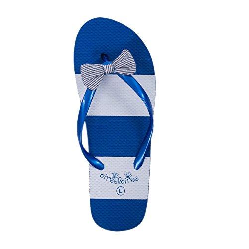 Infradito Donna Sandali delle Signore Estate Spiaggia Piscina Motivo a Strisce con Arco Carino Blu