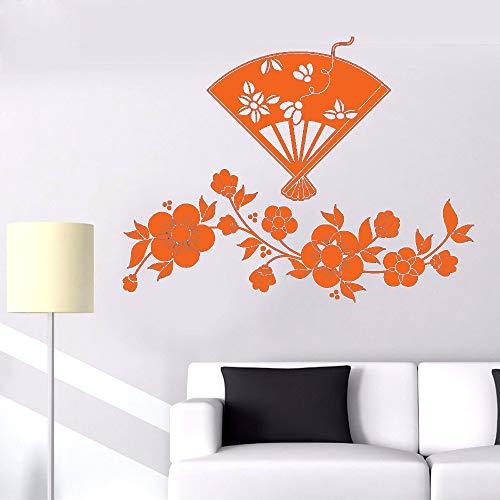 Vinyl Wandtattoo Blumen Kirschblüten Und Japanischen Fan Schöne Kunst Moderne Zimmer Removable Home Decoration Aufkleber K 57 * 76 cm