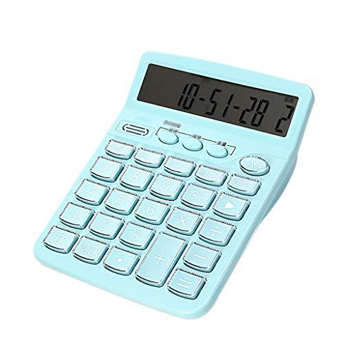 Taschenrechner 12-Bit-Voice-Big-Button-Rechner Großbild-Office-Rechner Wecker Erinnerung Zeitanzeige Rechner Wissenschaftliche Taschenrechner (Color : Light Blue)