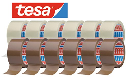 tesa 64014 Klebeband / Paketband 66 m x 50 mm / gemischtes Set (6 x farblos + 6 x chamois = 12 Rollen)