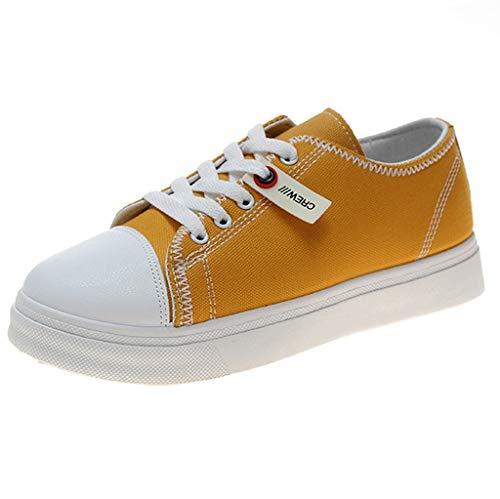 HDUFGJ Damen Espadrilles Canvas Sneaker Flache Schuhe Sneaker Atmungsaktiv Sommer Flache Schuhe Fitnessschuhe Flache Schuhe Outdoor-Schuhe Laufschuhe Freizeitschuhe 39(Gelb) - Schuhe Damen Nike Neueste