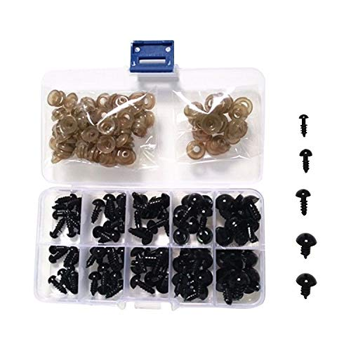 Tong Yue Kunststoff-Sicherheitsaugen, 6-12 mm Durchmesser, Schwarze Sicherheitsaugen, Puppenherstellung mit Unterlegscheibe für Bärpuppen, Basteln, 100 Stück