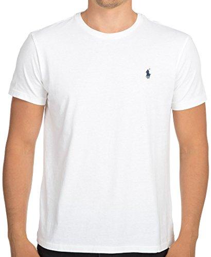 Ralph Lauren Polo Herren T-Shirt Klassische Passform Kleines Pony Rundhals Baumwolle Weiß, S -