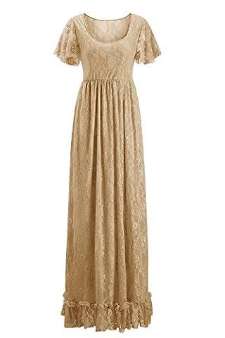 Damen Elegant Schwanger Schwangerschafts Fotoshooting Lange Chiffon Spitze Brautkleid Maxi Umstandskleid Kleid