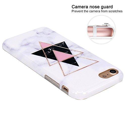 Coque iPhone 7, Coque iPhone 8, JIAXIUFEN Silicone TPU Étui Housse Souple Antichoc Protecteur Cover Case - Noir Or Marbre Désign Or Triangle