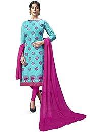 21fe9de6b8 Shonaya Women's Chanderi Cotton Embroidered Unstitched Dress Material(1003_Light  Blue_Free Size)