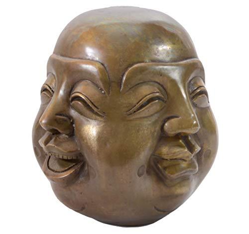 Aricola Buddha-Figur 4 Gesichter. Buddha Statue aus Bronze 15cm hoch.