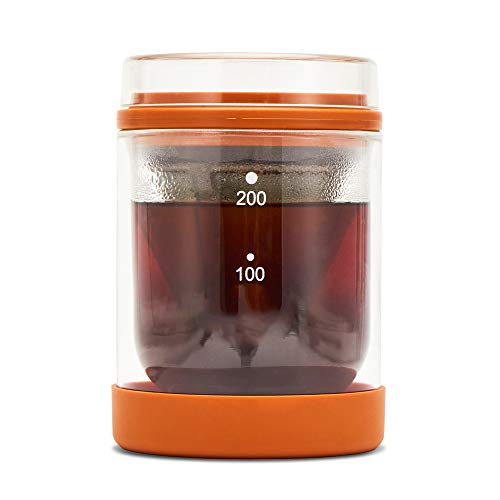 Pot Dripper-system (BILLY'S HOME Pour Over Coffee Maker, Elegant Coffee Dripper Pot mit Edelstahl Fine Mesh Filtration System, Double-Layered Glass Hot und kalte Dual Use)