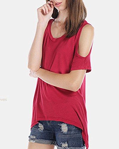 Donna Senza Spalline Camicetta Asimmetrico Camicia Casuale Camicetta Tops Orlo allentato T-shirt Blusa Rosso