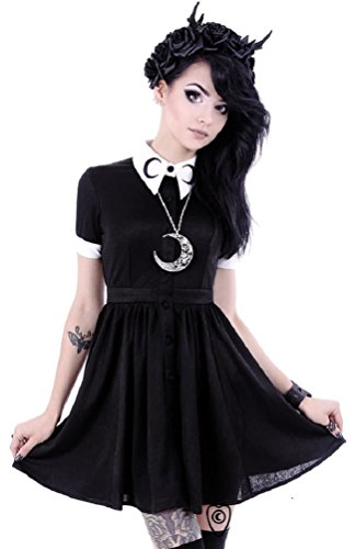 Restyle Gothic Luna Crescent Moon White Collar Mini Dress – Black (XL – UK 16)