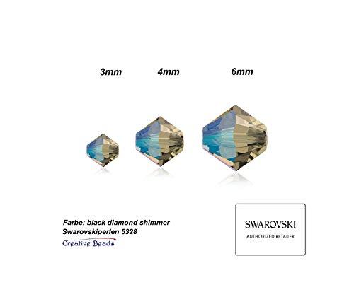 swaro vski Perles Bijoux à réaliser soi-même, double cône 5328, 6mm, 50pièces, Verre, Black Diamond Shimmer, Lot de 50