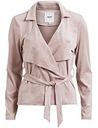 Object Avery Damen Blazer mit Gürtel zum binden | Jacke aus veganem Velours-Leder-Imitat | Extra weich mit Lasercuts | Vorne offen