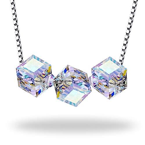 B.BOXX Kristallwürfel Halskette, Aurora Borealis Crystal Cube Perlen von Swarovski auf 925 Sterling Silber Box Halskette Kette, perfekte Weihnachtsgeschenke - Crystal Cube-anhänger