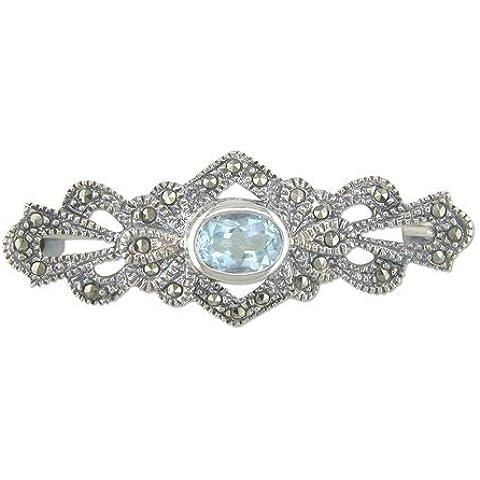 & topazio blu e Marcasite-Spilla in argento Sterling, stile antico, Vintage & Spilla/a