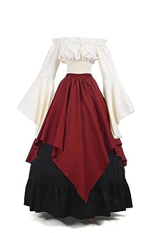 Halloween Costume De Costume Rouge - Femmes Médiévales Robes Reine Halloween Costume Déguisements