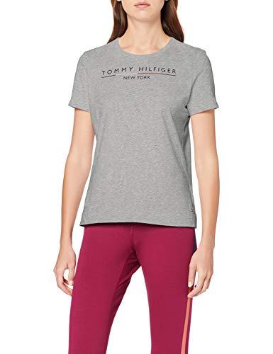 Tommy Hilfiger Damen Christa C-NK Tee SS T-Shirt, Grau (Light Grey Htr 039), Medium(Herstellergröße:M)