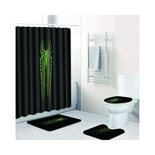 Daesar Spinne Badematten Dusche 45x75, Duschvorhang Anti-Schimmel 180x180, Badematten im 4 Set mit WC Teppichset (Spinnen Wc Im)