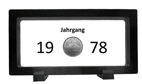 WallaBundu 40. Geburtstag – 1 DM von 1978 im Schweberahmen – Echte Münze aus Umlauf – DM NOSTALGIE (1978 Münze)