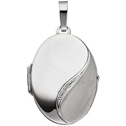 Medaillon Amulett 2 Diamanten Brillanten 585 Weißgold Halsschmuck für Damen