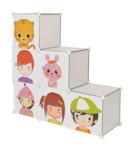 ts-ideen Armario zapatero para niños para juguetes en blanco con bonitos motivos 114 x 114 cm