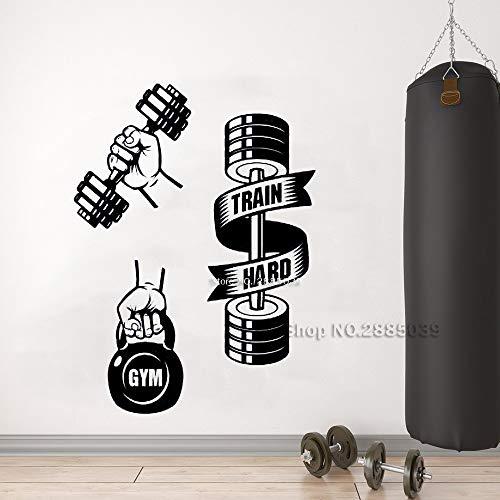 Ajcwhml Selbstklebende Fitnessgeräte trainieren Harte Gewichte Wandtattoos Gymnastikübungen Wandsticker inspirierend Gymnastikposter 110cm x 150cm - Glas-steinen Karte