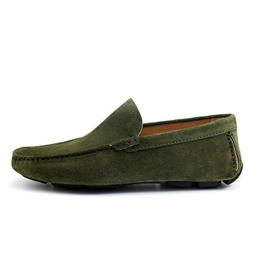 GIORGIO REA Chaussures Homme Car Shoes Vert Mocassins Mâle Main Italiennes, Cuir, Élégant, Classique, Oxford Classic Shoes
