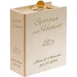 Geschenke 24: Schönes Sparbuch zur Hochzeit mit personalisierter Gravur (Natur- Ringe) - originelles Geldgeschenk & Hochzeitsgeschenk für das Brautpaar