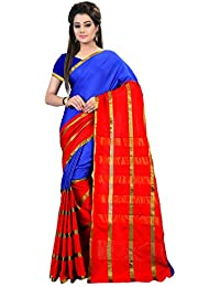 Glory Sarees Cotton Saree (Jari Saree 104_Blue And Pink)
