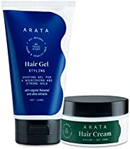 Arata Natural Curl defining Hair Styling Combo with Hair Gel & Hair Cream for Men & Women || All Natur