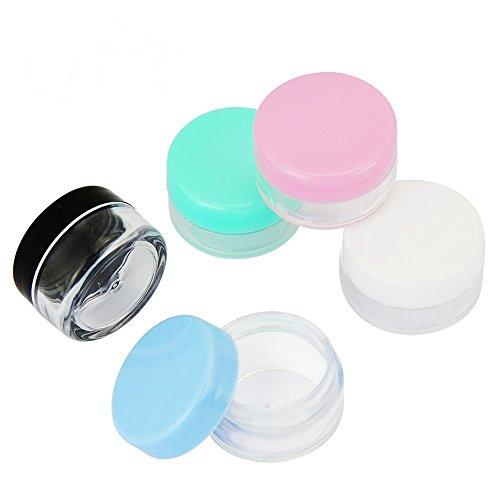 Tarros Cosmeticos, JTDEAL 50pcs Tarros Transparente(5g/5ml), Recambios recargables de plástico transparente de maquillaje Frascos cosméticos con tapas coloridas para Cremas/Polvo - 5 Colores
