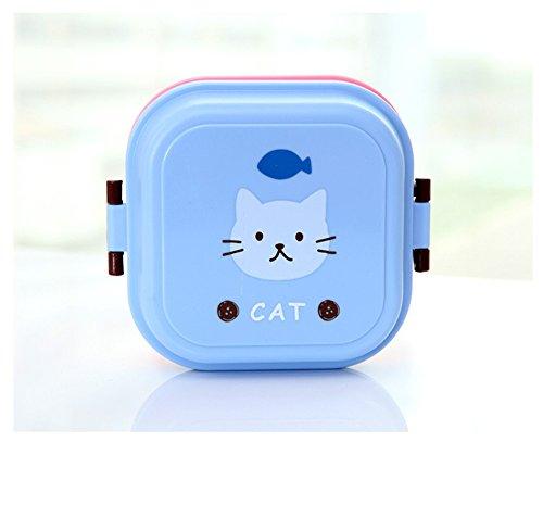 Lunchbox für Kinder, Cartoon-Motiv, Doppelschicht, Box, für Mikrowelle, Snack, umweltfreundlich blau