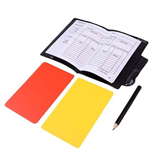 Fabricado en PVC, duradero y ligero.1 tapa de cuaderno, 1 tarjeta roja, 1 tarjeta amarilla, 1 lápiz, 1 papel de puntajeConjunto de puntuaciones de fútbol / fútbolTamaño: 12x8 cmConveniente para los árbitros de fútbol / fútbol