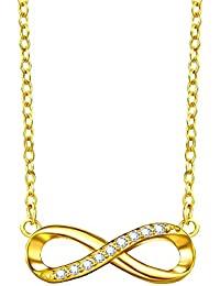F.ZENI Kette Damen 925 Sterling Silber Funkeln Kubisches Zirkonia Kuss  Halskette Akzent Unendlichkeit für 027ece2d31