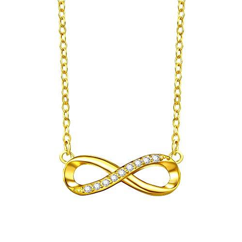 F.ZENI Kette Damen 925 Sterling Silber Funkeln Kubisches Zirkonia Kuss Halskette Akzent Unendlichkeit für Immer Ketten für ()