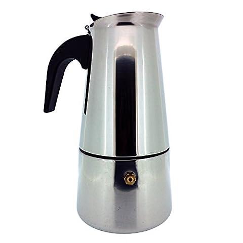 6 Tassen Italienischer Espressokocher für den Herd, Mokka Kaffeekanne von Kurtzy - Hochwertige Polierte Edelstahl Kaffeemaschine mit einem Dauerfilter und Hitzebeständigem Griff - Perfekt für den Haus und (Aluminium Stahl Tee-kessel)