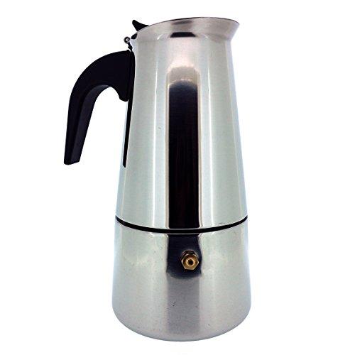 6 Tassen Italienischer Espressokocher für den Herd, Mokka Kaffeekanne von Kurtzy - Hochwertige Polierte Edelstahl Kaffeemaschine mit einem Dauerfilter und Hitzebeständigem Griff - Perfekt für den Haus und Bürogebrauch